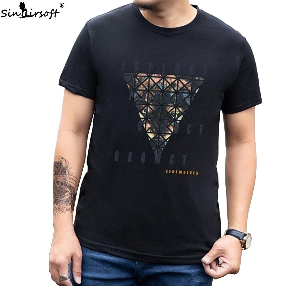Verano 100% de algodón elástico suelto para hombres camiseta nueva caliente tamaño grande T-shirtM-8XL moda estampado salvaje hombres camiseta 2019SINAIRSOFT