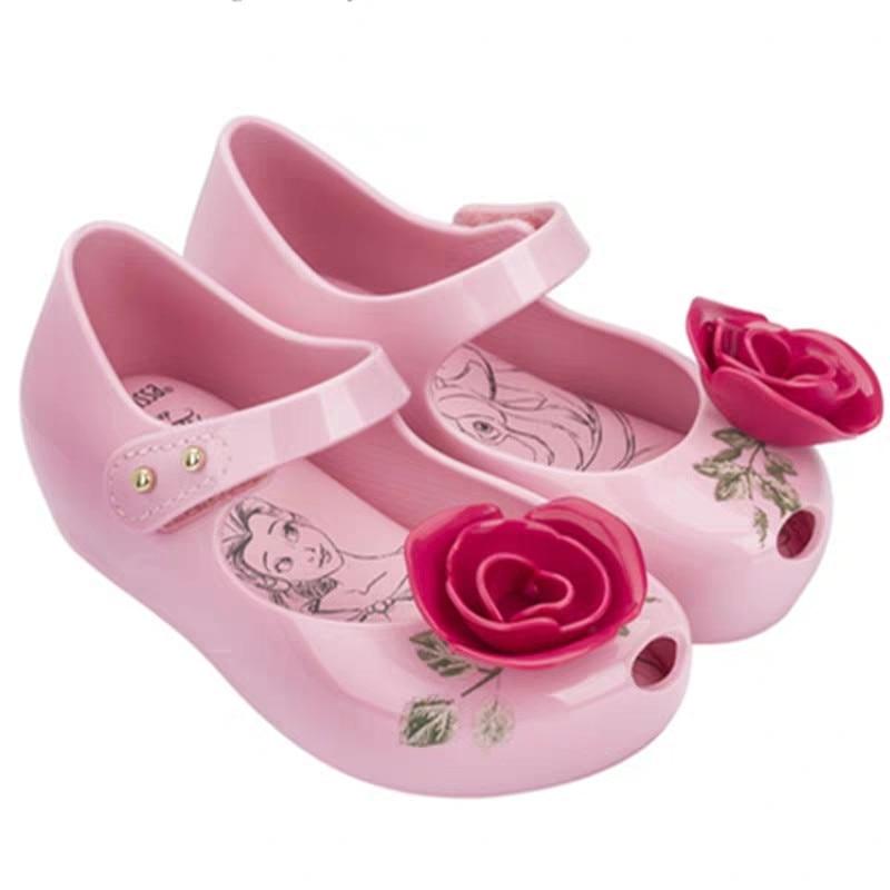 Mini Melissa New Beauty Beast Kids Jelly Sandals Girl Princess Sandals Melissa Brand Shoes Rose Teacup