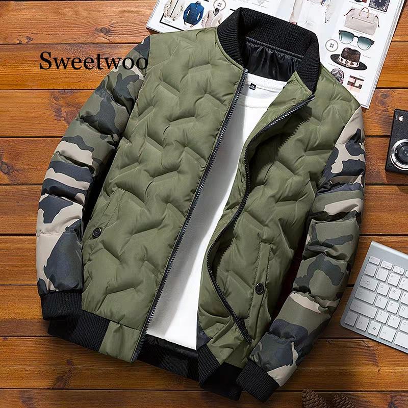 Зимняя мужская куртка-бомбер, повседневная хлопковая Толстая теплая парка, пальто, Мужская термальная верхняя одежда, ветровка, куртки, оде...