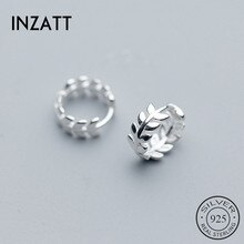 INZATT Real 925 Sterling Silver Leaves Round Hoop Earrings For Fashion Women Fine Jewelry Minimalist Ins Hot Accessorie Gift