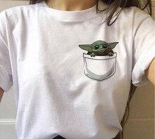 Yeni rahat bebek Yoda T-shirt grafik Tees kadınlar Hip Hop Star Wars Kawaii o-boyun kısa kollu 90s mandaloryalı Harajuku tees Tops