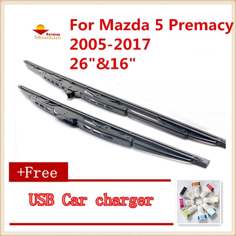 "2 unids/lote escobilla limpiaparabrisas de coche U-tipo Universal para Mazda 5 Premacy MK2 MK3 MPV 2005-2017 26 ""y"" 16"""
