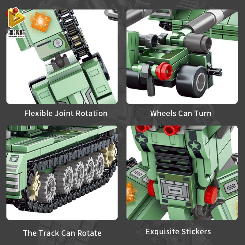 PANLOS 832pcs City Airplane Missile Tank Car Deformation Robot MOC Building Block Doll Children's Toy Sticker Gift Small Brick