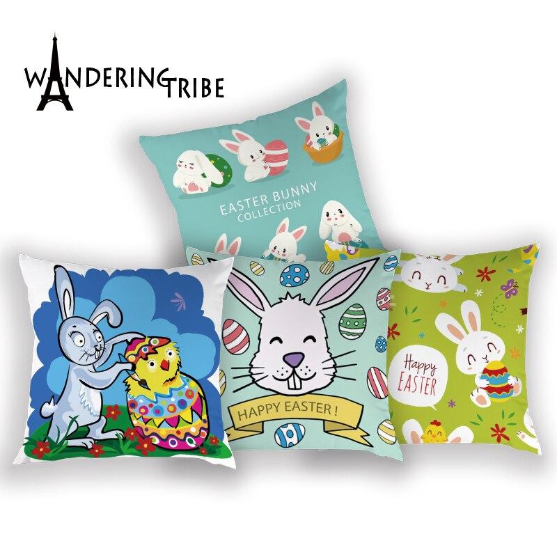 Huevos de Pascua funda de cojín de dibujos animados de conejo sala de estar almohadas caso de poliéster cojines cubre regalo decoración fundas de almohada Kissen