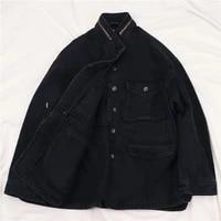 harajuku spring autumn new mid long black denim jacket women outwear oversized loose long sleeve big pocket jeans jacket female