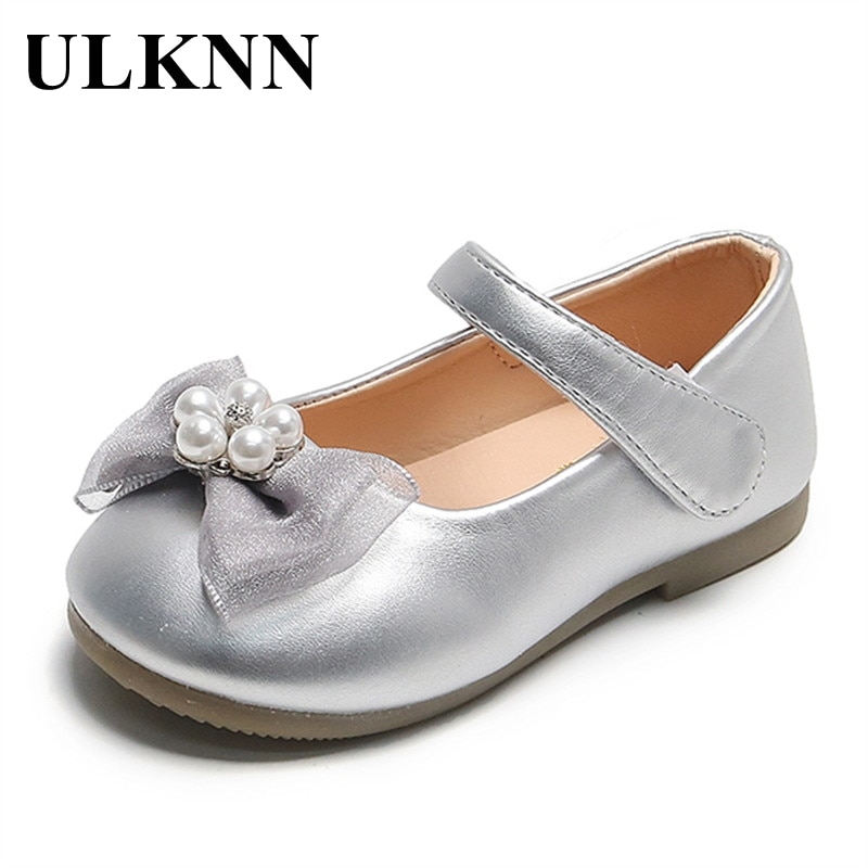 ULKNN Girls Bow Small Leather Shoes 2021 Spring New Peas Shoes Pink Version 1-3 Children's Baby Soft Bottom Square Flats Shoe