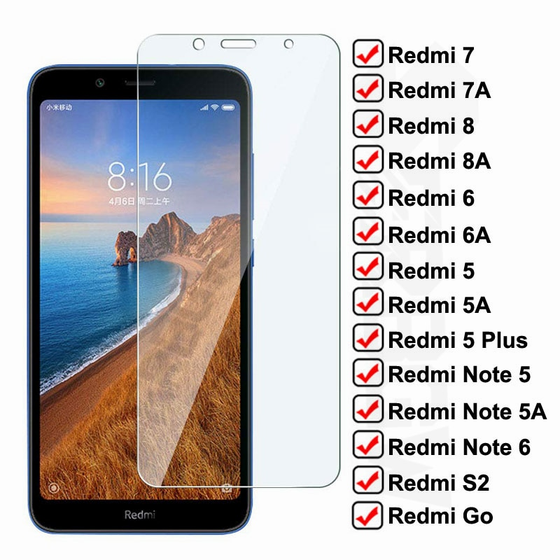 Anti-Burst Tempered Glass For Xiaomi Redmi 7A 7 8 8A 6 6A S2 Go Screen Protector On Redmi 5 Plus Not