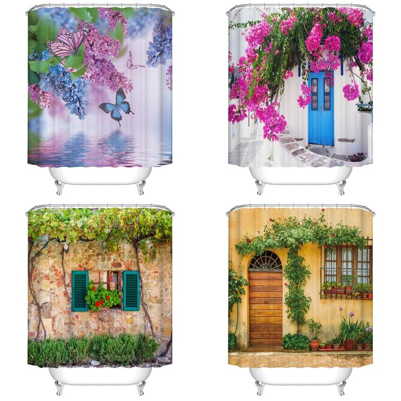 Cortina de ducha de flores para interiores, plantas, cortina de baño impermeable de poliéster, impresión individual para decoración de baño con 12 ganchos
