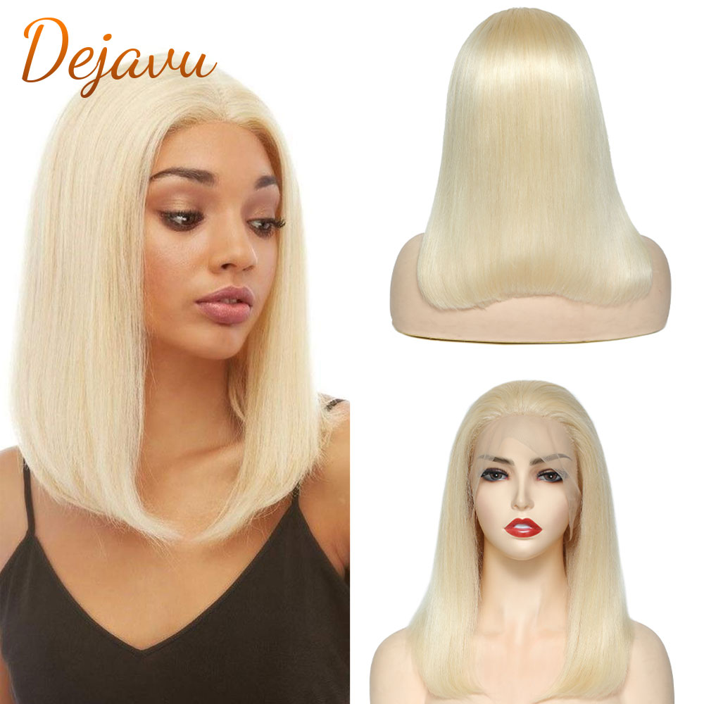 """Blonde Lace Front Wigs Straight Remy Human Hair Wig 13x4x1 Bob Lace Frontal Wigs 14"""" for Women Colored 613 Bob Blunt Cut Bob Wig"""