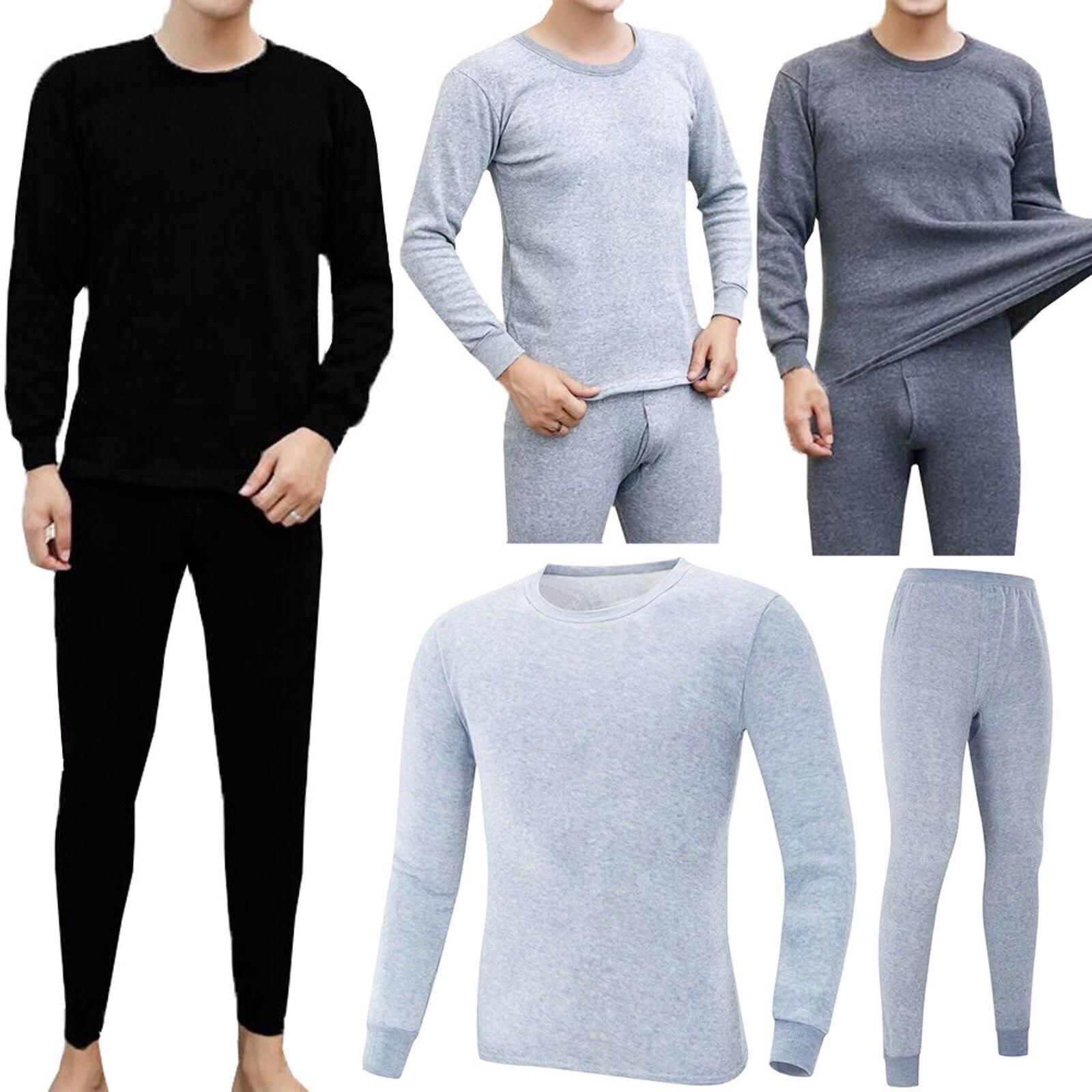 Мужское зимнее термобелье, мужской длинный термокостюм из полиэстера, удобный теплый топ + брюки, комплект термобелья Кальсоны      АлиЭкспресс