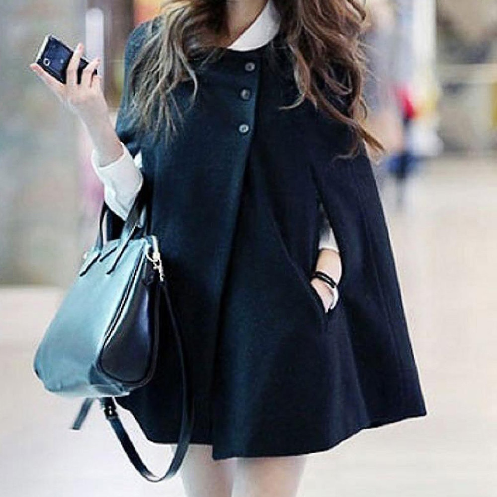 Capa de inverno feminina outono capa sólida xale cashmere botão casaco ponchos mujer invierno elegantes capa poncho feminino
