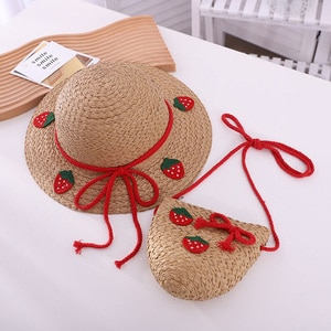 Korean Strawberry Pineapple Children Sun Hat Bag Set Summer Brand Lace Bowknot Beach Straw Hat For Boy Girl Wide Brim Cap