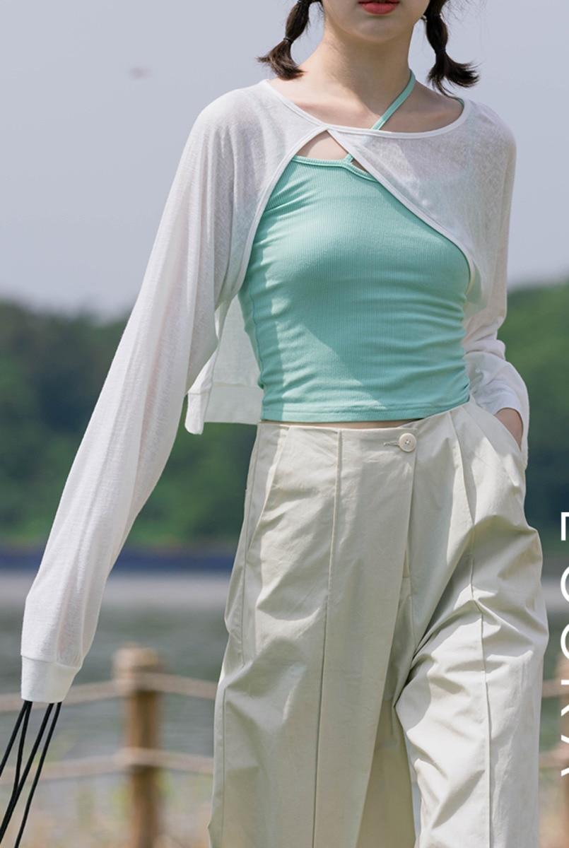 White Irregular T-shirt  Sunscreen Blouse Women's Autumn Short Design Long Sleeve Loose Top