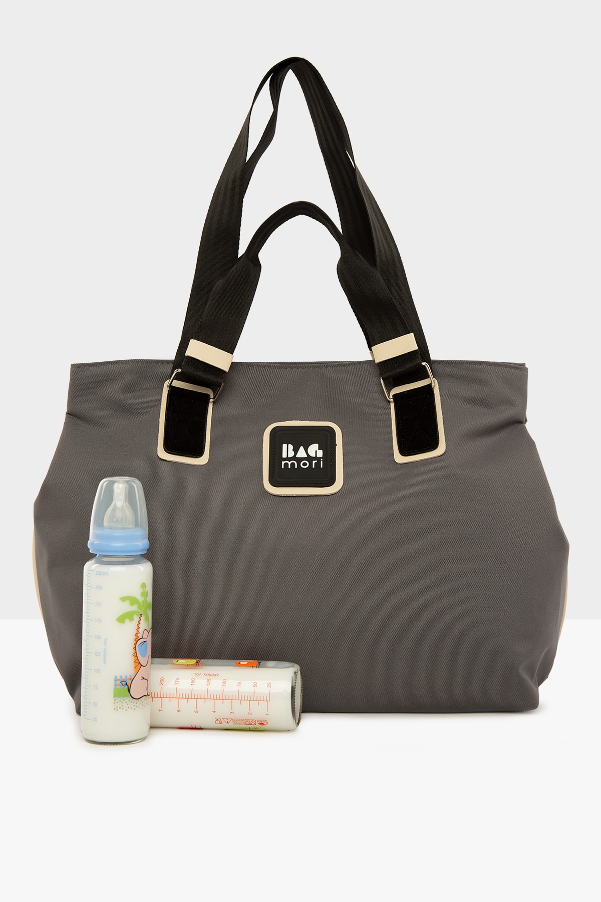 Grey Women's Garnished Mother Baby Care Bag with Snap Fastener for mom lunch bag for kids breast pum