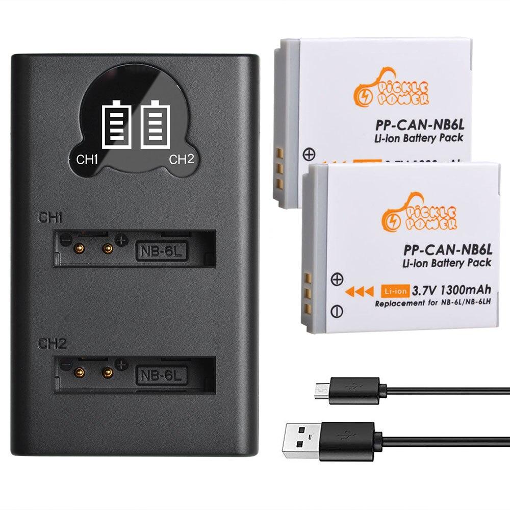 Batería de NB-6L NB6L NB 6L, Cargador USB NB-6LH LED para Canon...