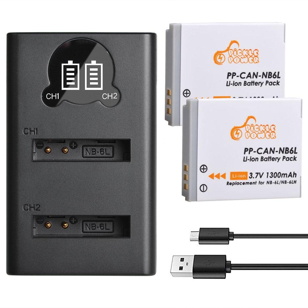 Bateria e Carregador Nb-6lh para Canon Daul Nb6l nb 6l Powershot S120 Sx510 hs Sx280 Sx500 é Sx700 D20 S90 D30 Usb 2 Pçs Nb-6l