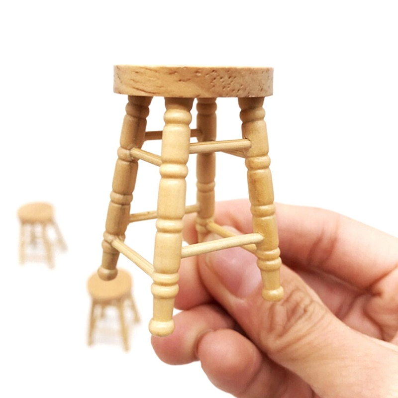 1/12 Dollhouse Miniature Accessories Mini Wooden Stool Simulation Chair Furniture Model Toys For Doll House Decoration недорого