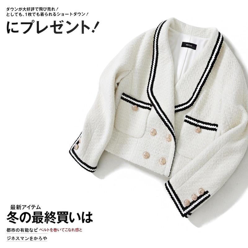 Весна-Осень 2020, женское короткое твидовое пальто, двубортное, черное, белое, цветное, плетение, куртки, элегантное пальто в стиле пэчворк, y558