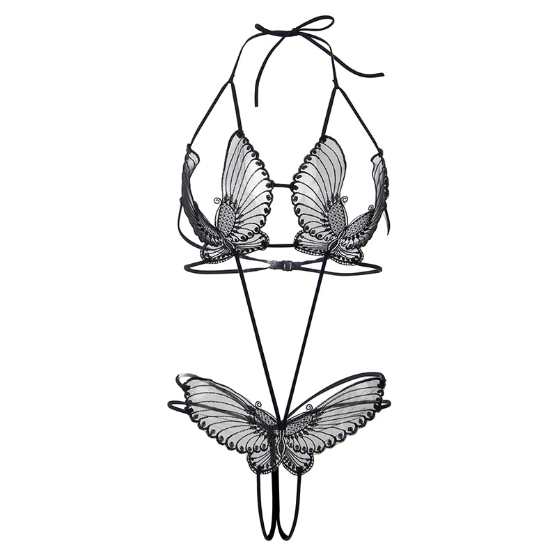 Encaje femenino Teddy Lingeries Halter mariposa Crotchless Body Encaje Mujer espalda abierta delicado ahueca hacia fuera Sexy ver aunque RW80762