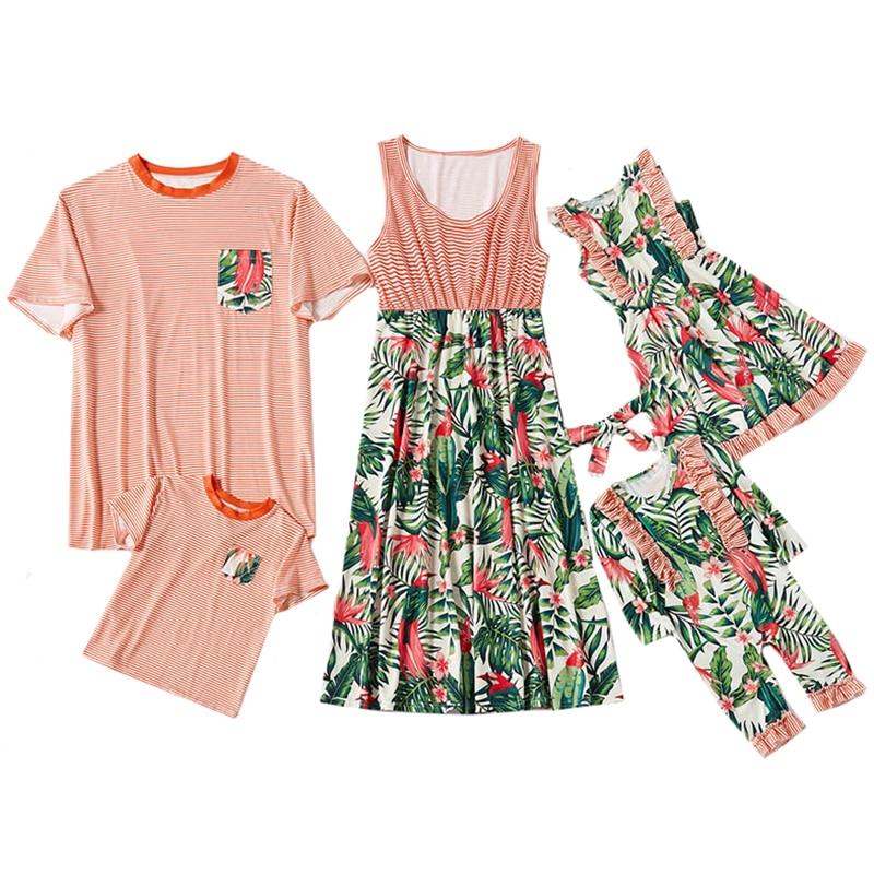 2020 משפחת בגדי קיץ אמא בת חצאית אבא ובן פנאי חולצה בגדי כתום פסים הדפסת חופשת חוף חצאית