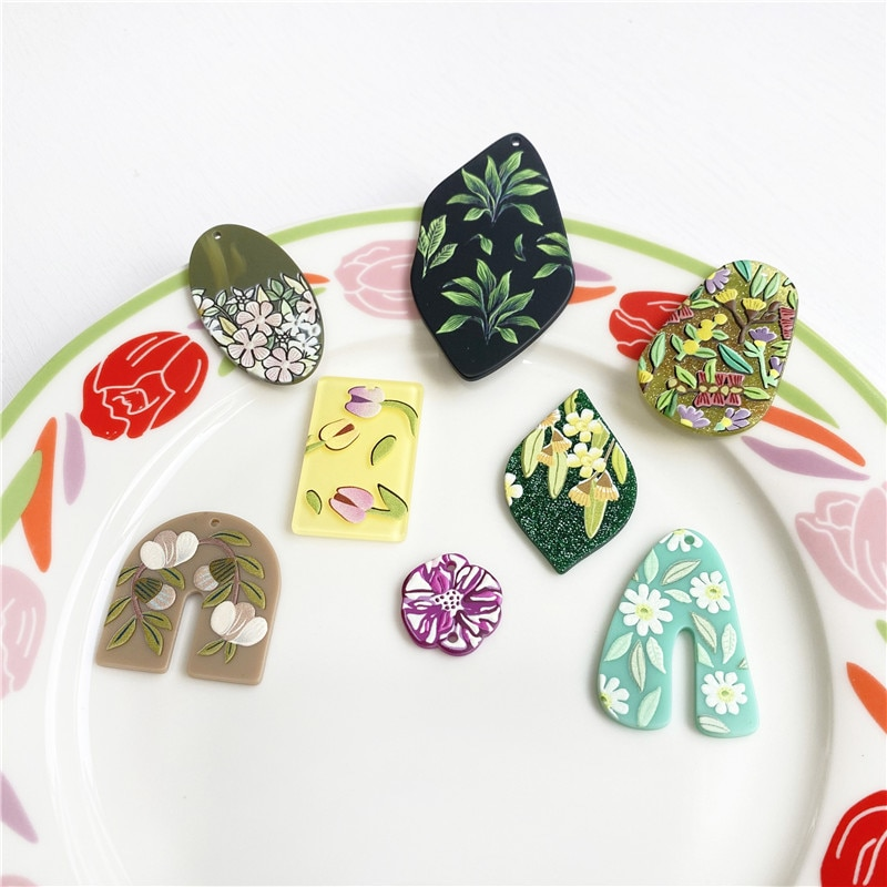 6PCS INS Special Shaped Oval Printing Illustration Flower Embossed Acrylic Pendant DIY Handmade Jewelry Earrings Accessories