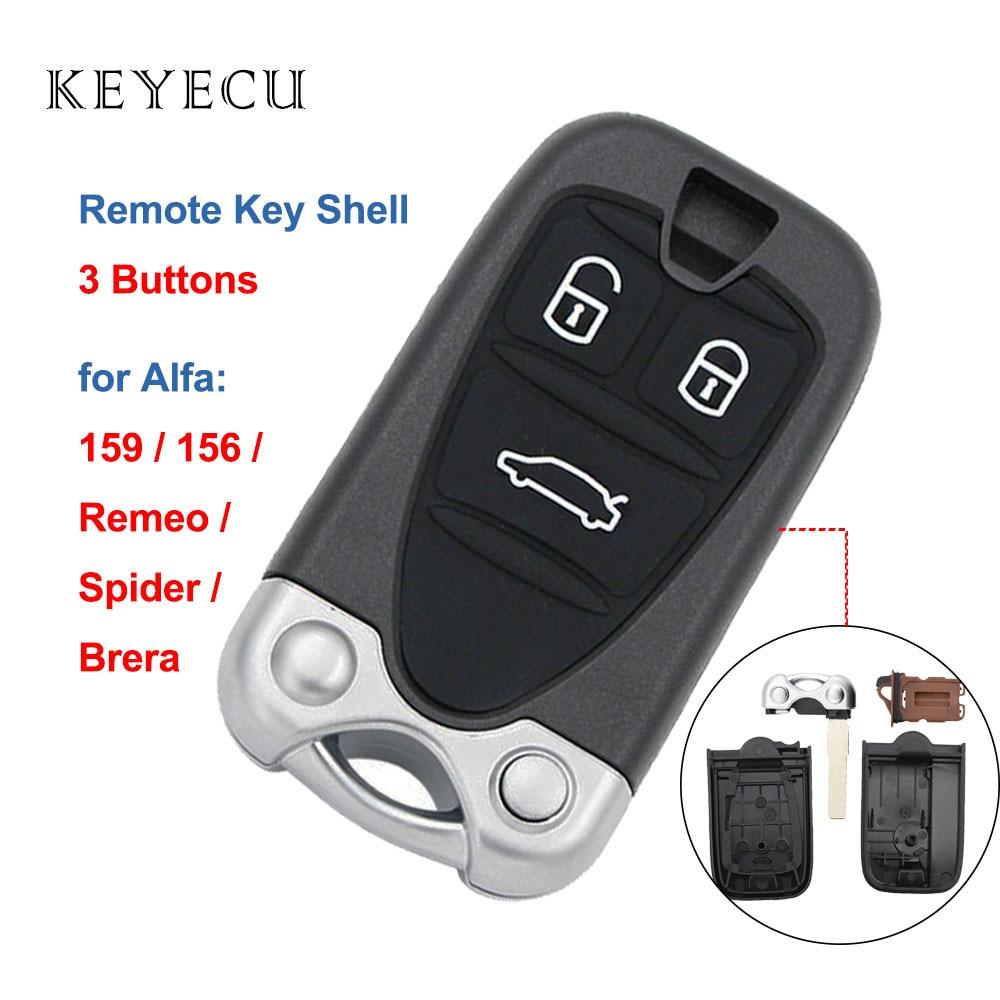 Keyecu coque seulement 3 boutons   Boîtier de remplacement de clé de voiture, coque de remplacement de boîtier pour Alfa Romeo 159 Brera 156 Spider