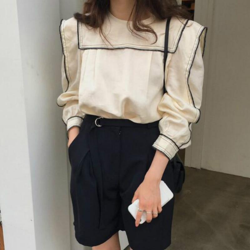 Damska letnia bawełniana bluzka z długim rękawem School Girl marynarski kołnierzyk krótka koszula luźny pulower topy