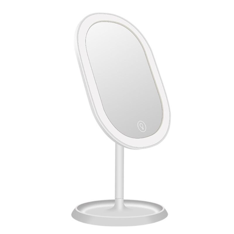 LED Lights Desktop Makeup Mirror USB Chargeable 180 Free Degree Rotation Portable Touch Screen Switch Dimmable Tabletop Cosmetic