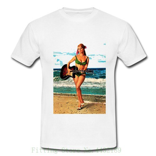 Gidget Guitar Mens Retro Vintage T Shirt Tee Surfer Surfer 50S 60S Pinup Pin Up T Shirts Man Clothing Graphic Tee