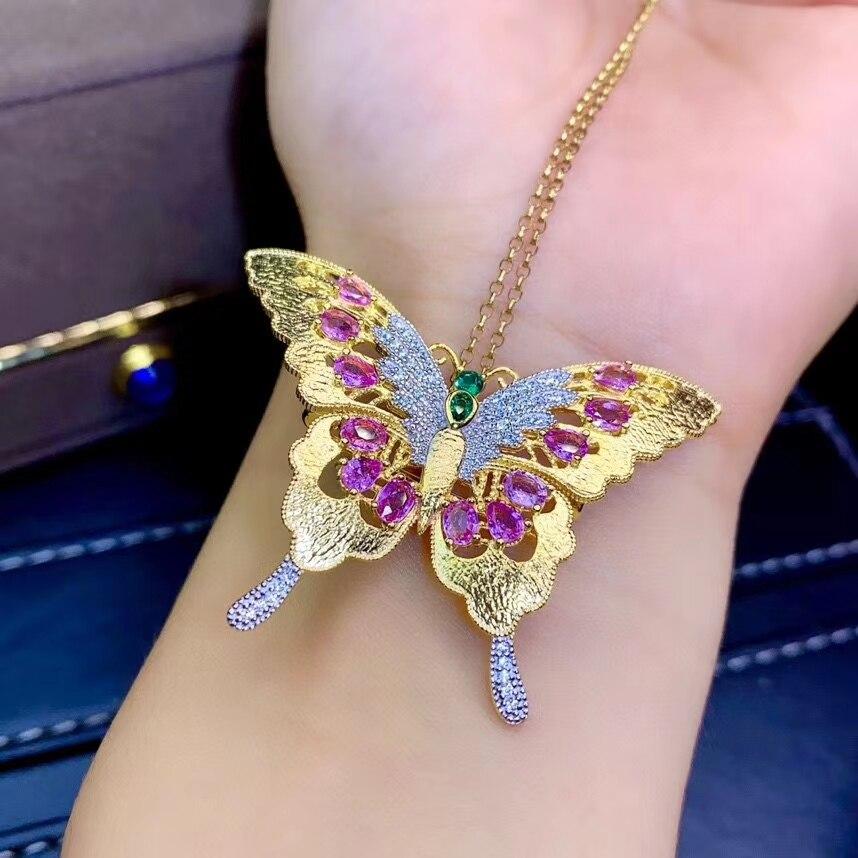 Grace Butterfly, colgante de broche con gemas de zafiro Rosa natural con mosca, colgante de piedras preciosas naturales, dos usos, joyería de fiesta de plata S925 para mujer