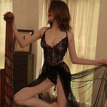 Women Transparent Lace Bodysuit Sexy Lingerie Sleepwear Mesh Lace Floral Dress See-through Catsuit E