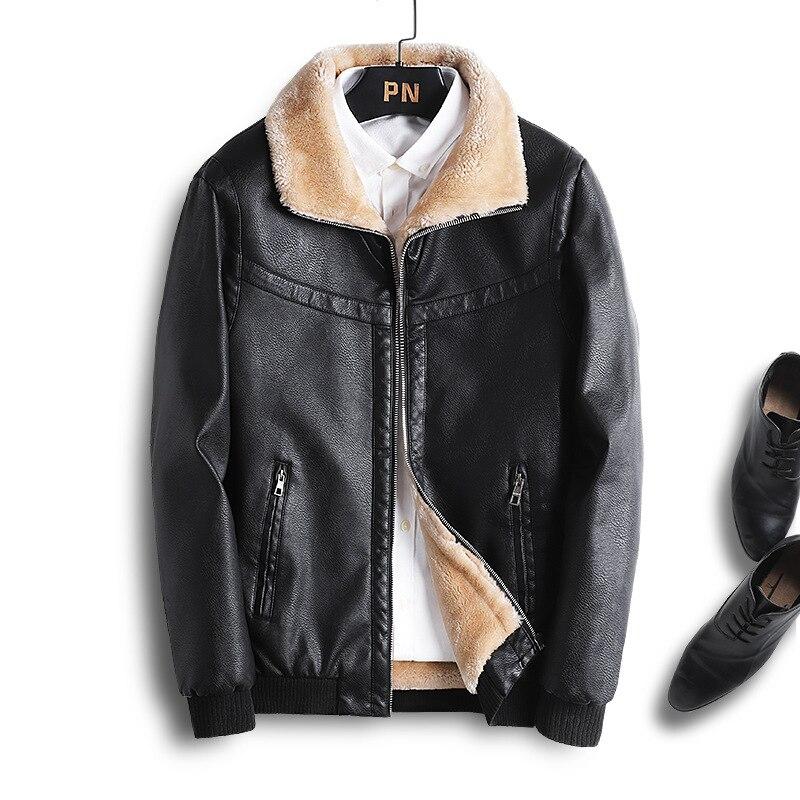 2021 New Coat Solid Faux Leather Men Bomber Chaqueta Moto Hombre PU Jacket Warm Thick Coats Winter Autumn Fur Collar Male Casual