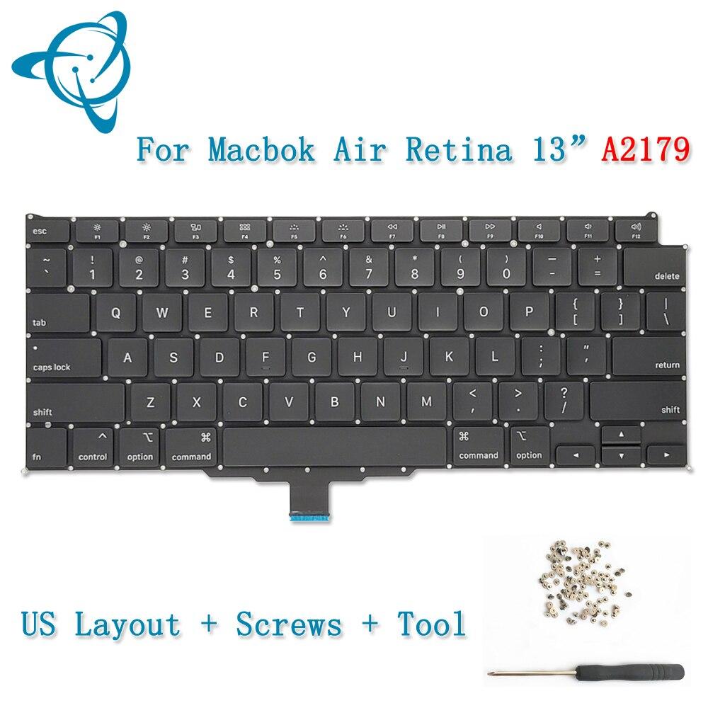 Новая клавиатура A2179 с подсветкой, английская и английская раскладка, для MacBook Air Retina, 13 дюймов, винты для клавиатуры A2179 + инструмент 2019 2020 год...