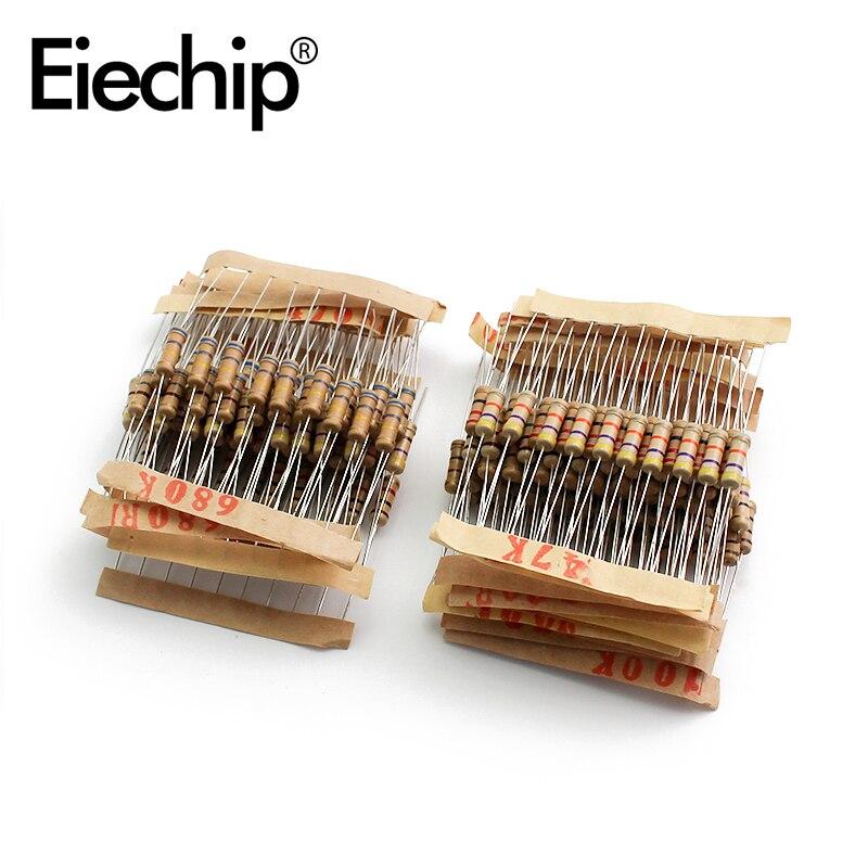 200pcs/lot 1W 5% Resistor Assortment Kit 20Value 10 ohm - 1M ohm Resistor Set 22R 47R 100R 220R 470R 1K 4.7K 100K ohm Resistance 200pcs lot 1w 5