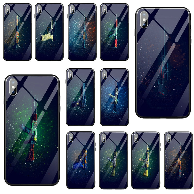 CSGO, fundas de teléfono móvil de vidrio templado de goma para iPhone 5 5S SE 2020 6 6S 7 8 Plus X XR XS 11 Pro Max, funda