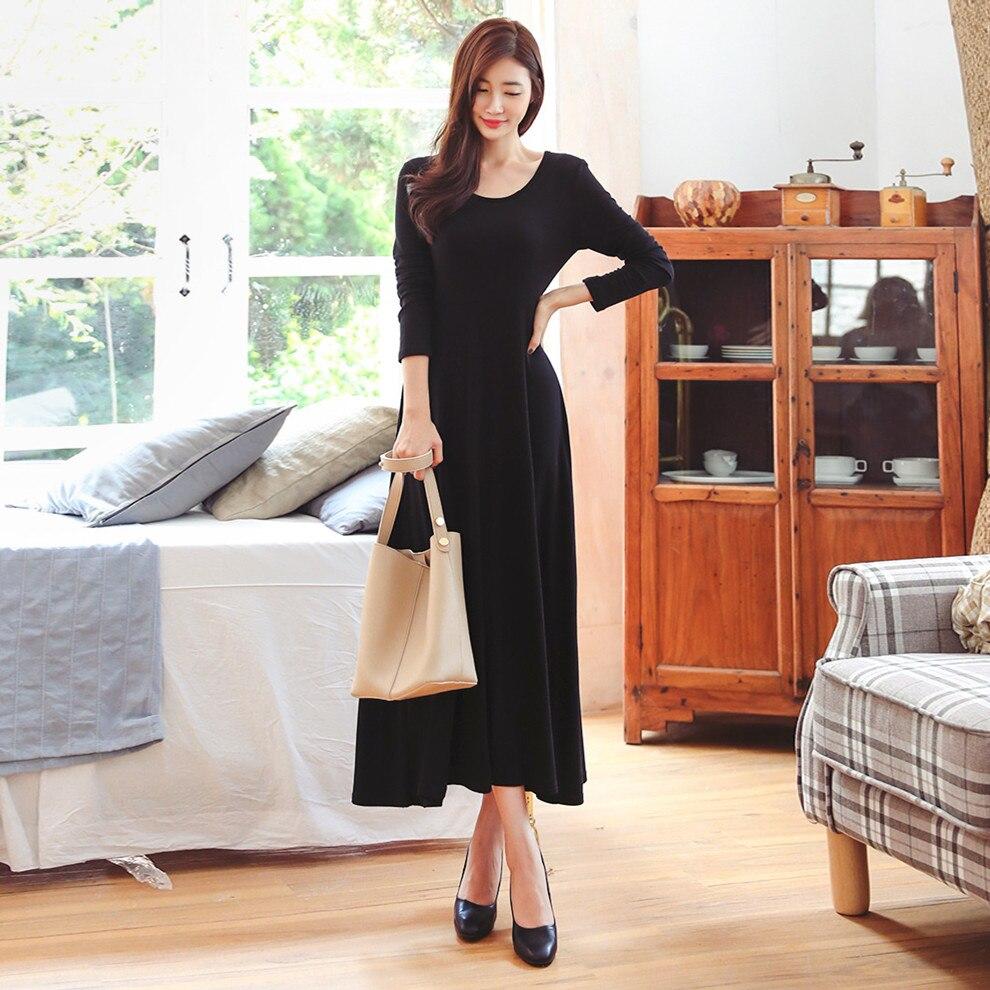 ربيع جديد الكورية نمط نحى القطن المرأة كم الرقبة المستديرة سليم صالح الخصر التي تسيطر عليها تنحنح كبير فستان طويل
