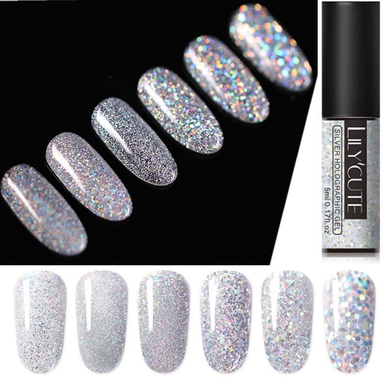 LILYCUTE Laser Silber UV Nagel Gel Polish Glitter 5ml Nagellack Gel lack Tränken Weg Vom UV Led Nagel Lack
