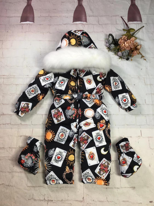 2019 invierno abrigo de plumón de bebé traje de plumón de pato ropa de abrigo de piel trajes de nieve para niños abrigos de plumón Mono para niño mameluco de esquí