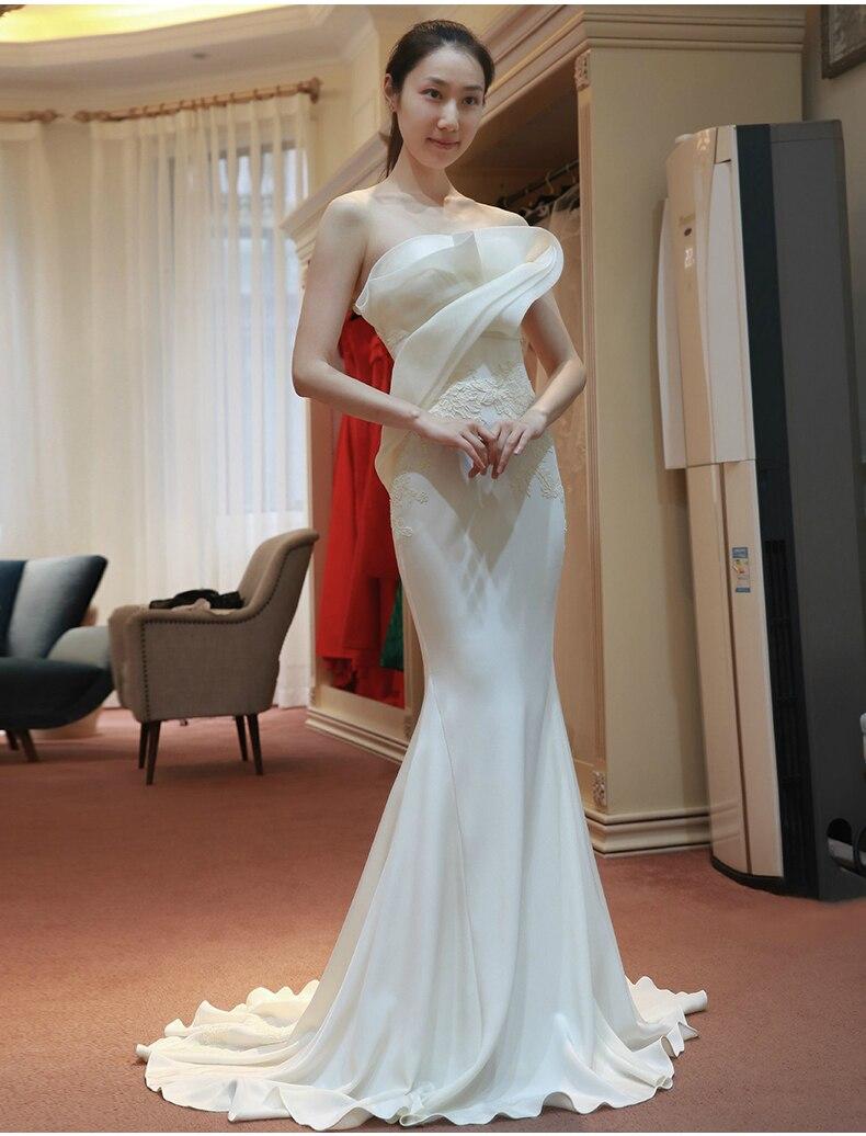 vestido de noiva mermaid vintage appliques brides new white dress robe mariage long Bespoke Wedding Dresses