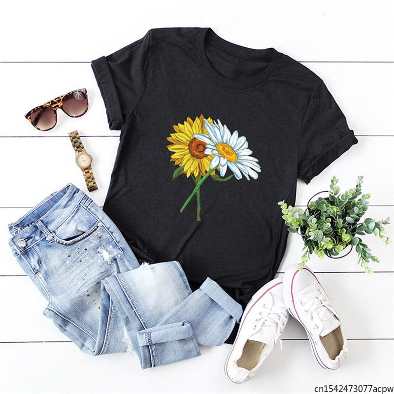 Sunflowers Print T Shirt Summer Plus Size Women T-Shirt O Neck Short Sleeve Tees Women Clothing Tops 2020 summer t shirt women new short tights women off shoulder t shirt lace sleeves sexy clothing print t shirt women halter tops