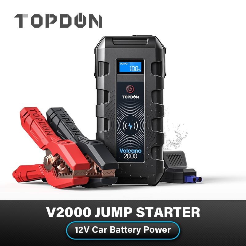 AliExpress - Power Bank TOPDON V2000 Car Jump Starter 20800mAh 12V 2000A Peak Emergency Starter SOS Flashlig 10W Wireless Car Battery Charger