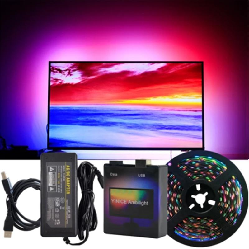 Caliente DIY PC TV sueño pantalla USB LED franja de HDTV computadora luz de fondo de Monitor direccionable de tira LED conjunto completo FKU66