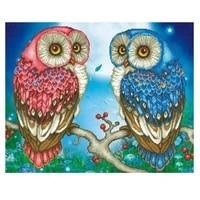 diy diamond painting cross stitch two red blue owl full square round diamond embroidery home decor mosaic needlework rhinestones