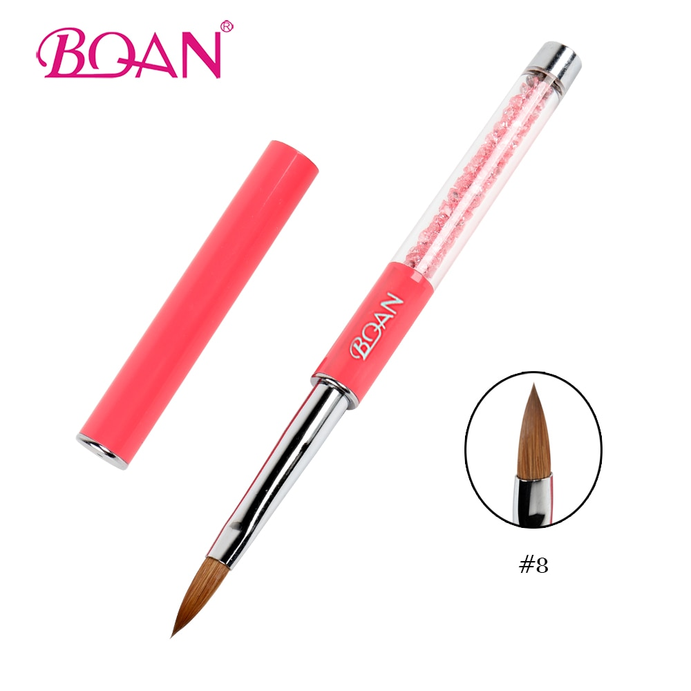 BQAN Nail Art Brush #8 Diamante de imitación rosa y mango de Metal pincel acrílico de uñas pura Kolinsky Sable herramienta de cepillo para uñas