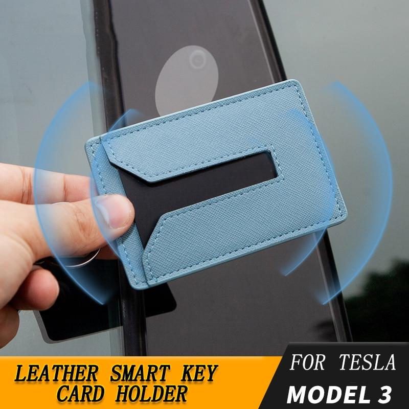 Para el modelo 3 Funda para tarjeta llave Funda para llavero Llavero Para modelo 3 Accesorios para coche Juego de llaves de tarjeta Alcantara de imitación Negro