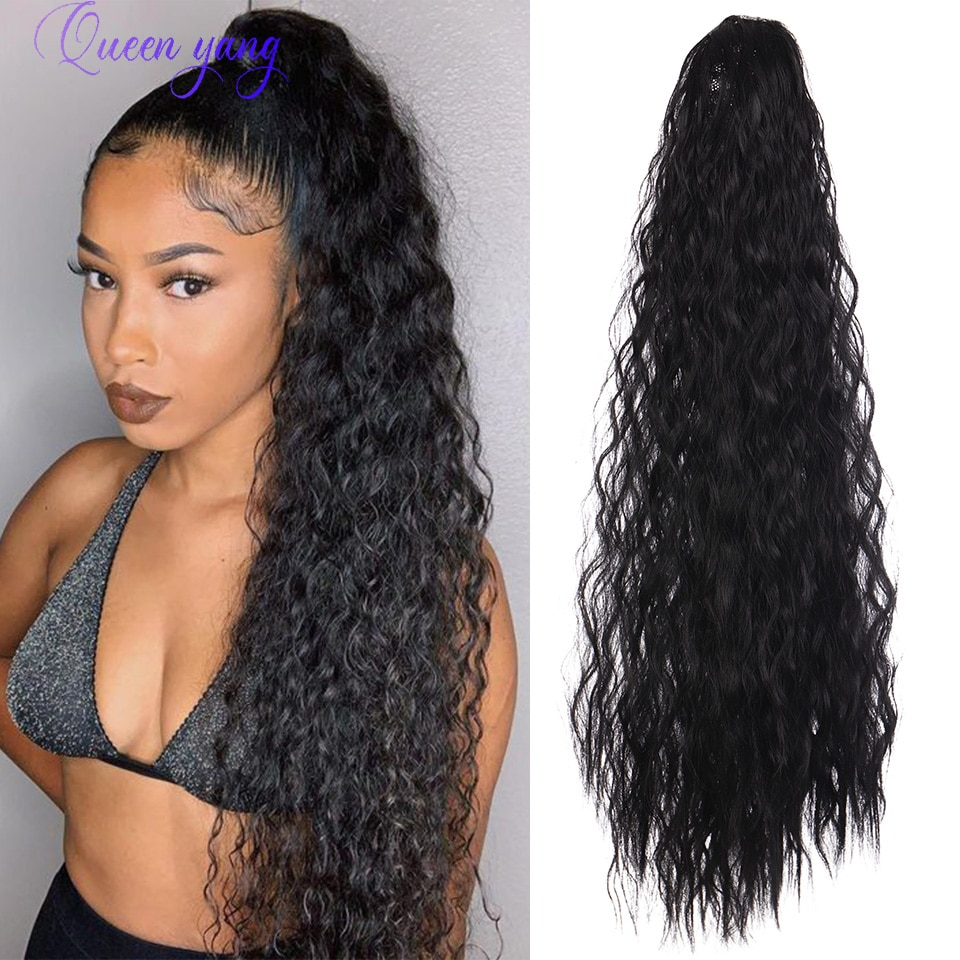QUEENYANG 60cm 130g Clip In Synthetic Water Wave Ponytail Hair Extension Drawstring Ponytails Hairpiece Pony Tail Hair Extension clip in soft wave hair extension 1pc
