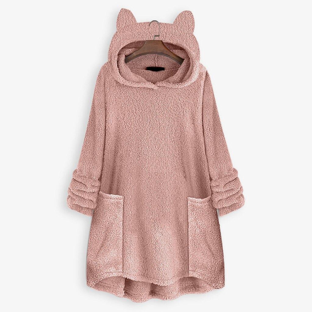 Fleece Cat Ear Long Hoodies Sweatshirt Women Fleece Warm Pocket Cat Ear Plus Size Hoodie Pocket Top Blouse Sweat Femme толстовка