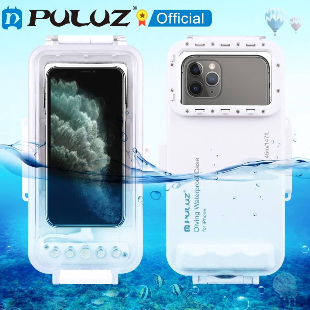 PULUZ-غلاف غوص مقاوم للماء حتى 45 متر ، جراب تحت الماء لهاتف iPhone/ Galaxy/ Huawei/ Xiaomi ، مع OTG