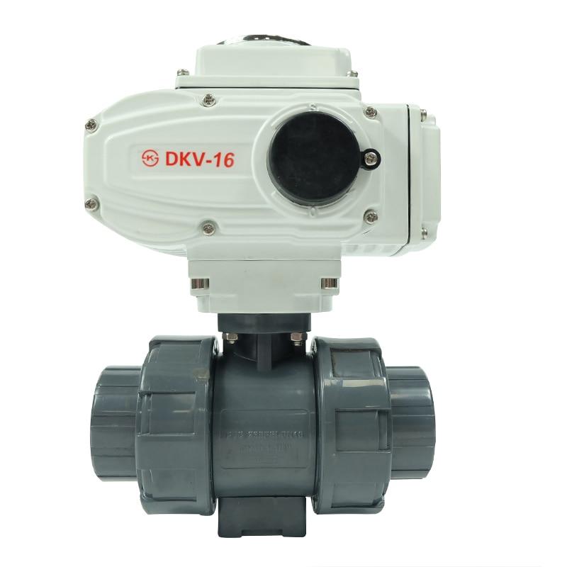 DKV high efficiency 220V 1 inch pvc water plastic  thread electric ball valves
