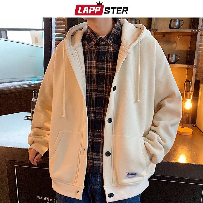 Ropa informal japonesa para hombre de LAPPSTER, chaquetas con capucha de invierno 2020, abrigos para hombre de lana en el interior, rompevientos grueso, chaqueta de béisbol 5XL